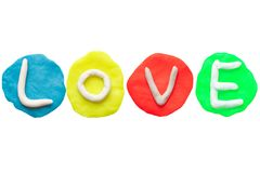 LOVE from plasticine and clay Royalty Free Stock Photography