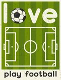 Love Play Football. Retro poster in flat design Stock Images
