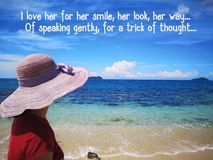 Love poem with background ocean view and a lady look up to the sky design for Christianity. Read inspirational poem verses and quotes that will encourage and royalty free stock photo