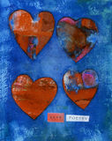 "LOVE POETRY. Mixed media collage of hearts with the words ""LOVE POETRY Stock Photo"