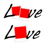 Love Polaroid vector. Single and couple polaroid love frame vector illustration Royalty Free Stock Photo