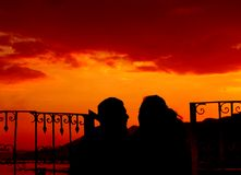 Love Portrait. A young couple share the last rays of the day's sun Stock Photos