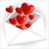 Love postcard. Romantic postcard with a heart illustration Stock Photo