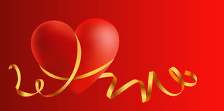 Love postcard. Romantic postcard with a heart illustration Royalty Free Stock Image