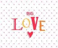 Love postcard with cartoon letters and heart on white background with polka dots. Vector poster.  Royalty Free Stock Photo