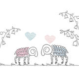 Love postcard cute sheep Doodle Royalty Free Stock Images