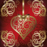 Love postcard with golden heart Royalty Free Stock Photo