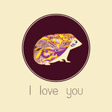 A love postcard with hedgehog Royalty Free Stock Photography