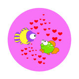 Love postcard. Valentines card,love two fishes meet Royalty Free Stock Images