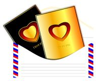 Love postcards in an envelope. (Vector) Stock Photo