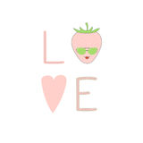 Love poster with a strawberry. Hand drawn typographic poster with word love, heart and cute funny strawberry in sunglasses. Isolated objects on white background Royalty Free Stock Photos