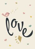 Love poster. Valentines day template that reads Love. It has a bird singing, hearts and a kite. It can be used as a poster, a card or a background Royalty Free Stock Photos