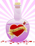 Love Potion. An illustration of a corked bottle containing a love potion, surrounded by heart shaped rose petals Royalty Free Stock Photo