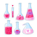 Love potion beautiful bottles with hearts  set Stock Photography