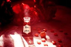 Love potion bottle, concept for dating, romance and valentine`s day.  royalty free stock photos
