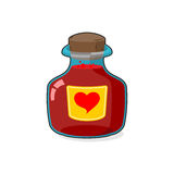 Love potion Bottle. Glass vessel with wooden stopper. Sticker he Royalty Free Stock Photo
