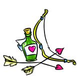Love Potion cupid arrows cartoon illustration Stock Photo