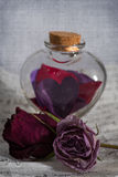 Love potion. A glass heart shaped potion bottle full of paper hearts. A love letter is in the background and two dried roses are present royalty free stock photo