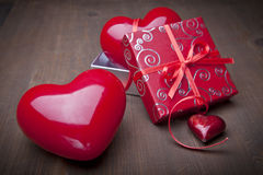 Love present ower wooden background Stock Photos