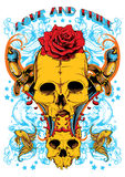 Love and pride. Skulls and blades deep in water Royalty Free Stock Photography