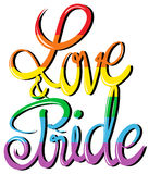 Love and pride text design Royalty Free Stock Photo