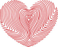 Love print. A love shape illustrated with lines similar with hand print stock illustration