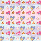 Love print. Decorative pattern with hand drawn hearts. Seamless vector pattern. 10 eps stock illustration