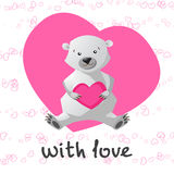 Love printable with cute bear holding heart. Royalty Free Stock Photos