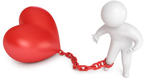 Love prisoner. Man chained to the heart, love prisoner, marriage, 3d render Royalty Free Stock Photos