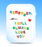 Love promise letter magnets on fridge concept Stock Image