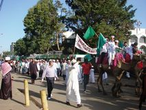 Love for Prophet, Milad un Nabbi celebration. Muslims perform a procession to mark Milad un Nabbi celebrations in Africa Nairobi Kenya to mark the birth day Stock Photo