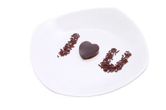 Love pudding with clipping path Royalty Free Stock Image