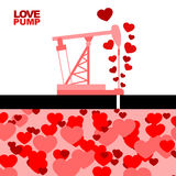 Love pump. Extraction of love. Oil rig rocking love from under g Royalty Free Stock Photos