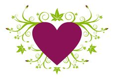 Love purple heart with green floral Stock Images