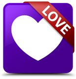 Love purple square button red ribbon in corner. Love isolated on purple square button with red ribbon in corner abstract illustration Stock Images