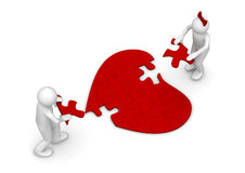 Love = puzzle. Love, valentine day series; 3d isolated characters Royalty Free Stock Photo