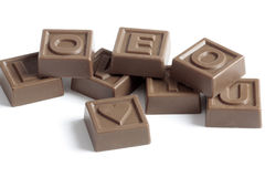 Love puzzle. Chocolate puzzles with word Love Stock Photo