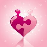 Love Puzzle. On pink color background Royalty Free Stock Photo