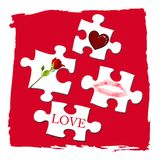 Love puzzle. Pieces of puzzle with love symbols on red background Stock Images