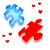 Love is a puzzle. Blue and red pieces on white background Royalty Free Stock Image