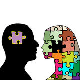 Love puzzle. Illustration love puzzles man and woman on a white background Stock Photo