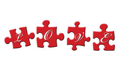 Love Puzzle. Puzzle pieces with the word 'LOVE' spelled out stock illustration