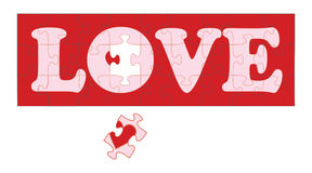 Love Puzzle II. Illustration of a red jigsaw puzzle with the word love in white Stock Photography