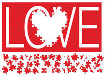Love Puzzle III. Illustration of a red jigsaw puzzle with the word love in white missing a heart shaped section Stock Photography