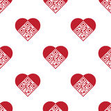 Love QR Code seamless pattern. Readable red artistic QR Code seamless pattern. Elements are in shape of heart with I Love You! text encoded Stock Photography
