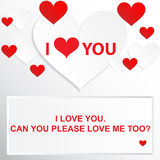 Love quote - I love you. Can you please love me too?. I love you. Abstract holiday background with paper hearts Stock Photos