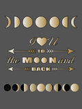 Love quote lettering Inspirational quote I love you to the moon and back Valentines day card Royalty Free Stock Images