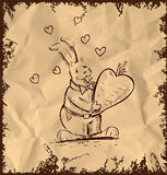 In love rabbit holding heart shaped carrot Stock Photography