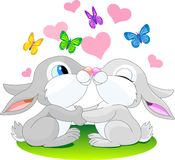 Love_rabbits. Two cute rabbits in love Stock Images