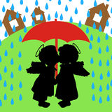 Love and rain Stock Images